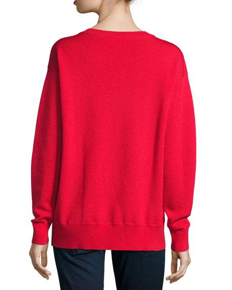 Merino V-Neck Pullover Sweatshirt, Red