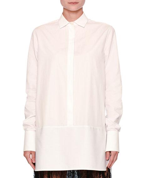 Lace-Trim Poplin Tunic Blouse, White/Black