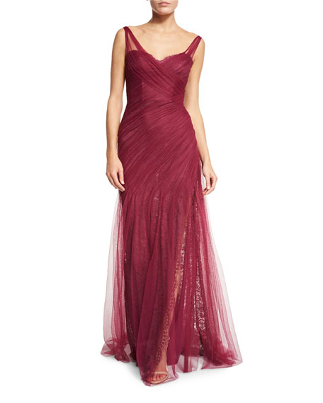Pleated Lace Tulle Gown