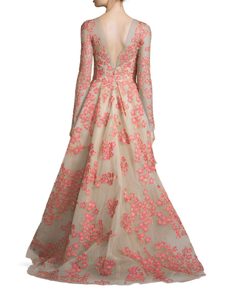 Floral-Appliqué Long-Sleeve Illusion Gown, Apricot/Nude