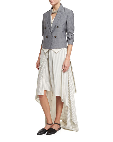 Striped High-Low Maxi Skirt, Multi