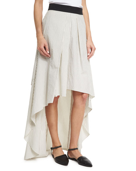 Striped High-Low Maxi Skirt, Multi