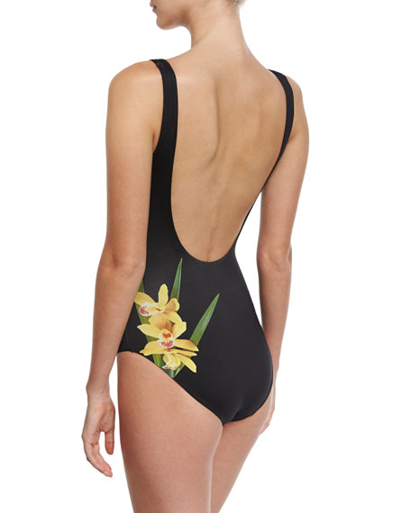 Kelly Floral-Print One-Piece Swimsuit, Black