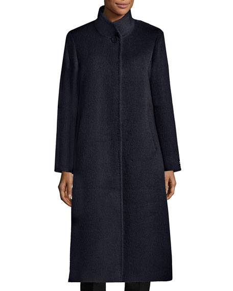 Long A-Line Coat, Navy