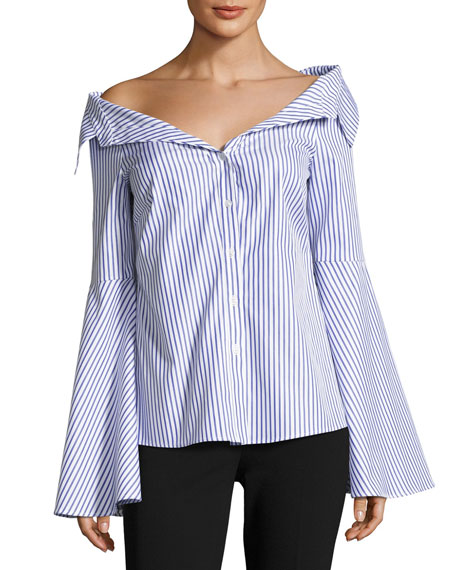 Persephone Striped Décolleté Shirt, Blue/White