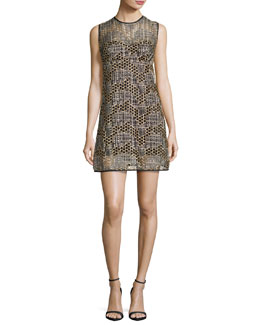 Sleeveless Jewel-Neck Sequined Tulle Shift Dress, Gold