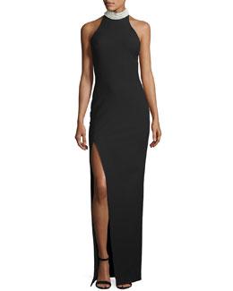 Pearl Capsule Nahla Mock-Neck Column Gown, Black/White