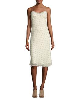 Santi Floral-Print Silk Slip Dress