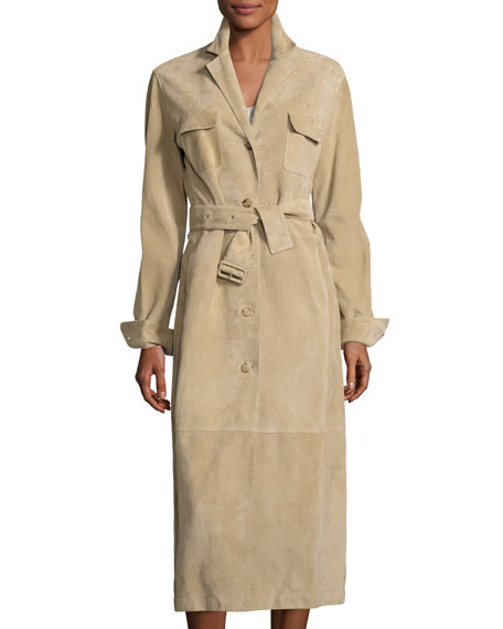 Zoe Perforated Suede Trenchcoat, Sand
