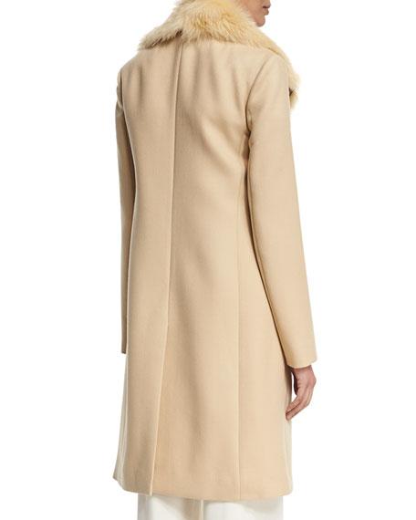 Roza Shearling-Trim Long Coat, Light Beige