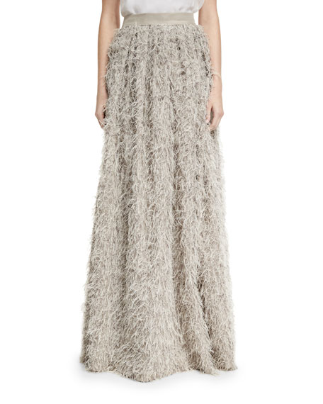 Summer Faux-Fur Maxi Skirt, Gray
