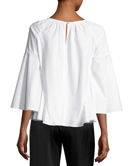 3/4-Sleeve A-Line Cotton Tunic, White