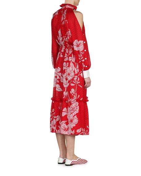 Floral Cold-Shoulder Ruffled-Neck Dress