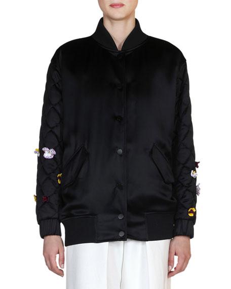 Fendi Floral-Embroidered Bomber Jacket, Black/Multi