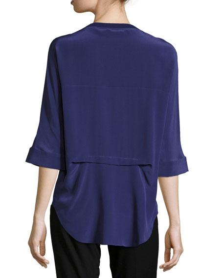 Silk Half-Sleeve Shirt w/Ribbed Trim