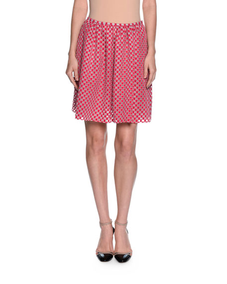 Organza-Dot Full Skirt, Fuchsia