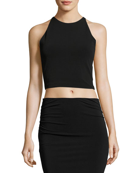 Theodora Fitted Lace-Back Crop Top, Black