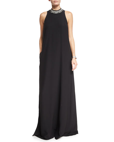 ee390b69e72 Brunello Cucinelli Monili   Leather-Trim Maxi Gown