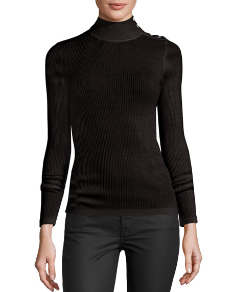 Merino Wool Button-Turtleneck Sweater