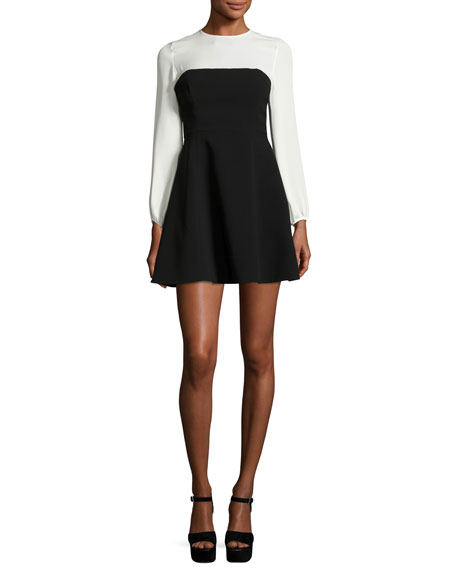 Seraphina Two-Tone Long-Sleeve Mini Dress, Black/White