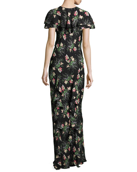Floral-Print Silk Dress w/Capelet, Black Pattern