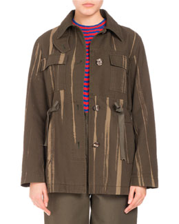 Four-Pocket Printed Canvas Coat, Army Green