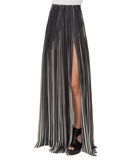 Striped Plissé Silk Maxi Skirt, Black/Blanco