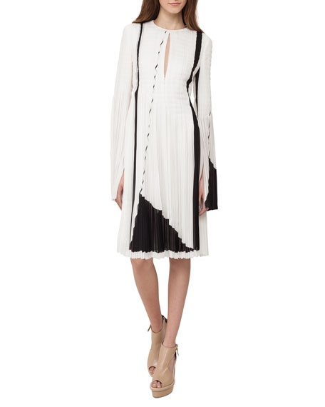 Long-Sleeve Plisse Georgette Dress, White/Black