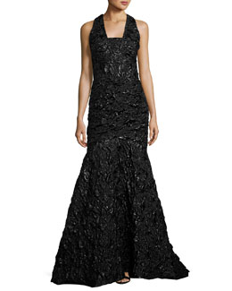 Penelope Rosette Jacquard Mermaid Gown, Black