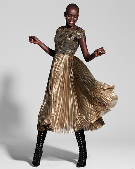 Beaded Off-the-Shoulder Plisse Cocktail Dress, Gold