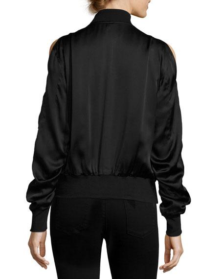 Jester Cold-Shoulder Silk-Satin Bomber, Black