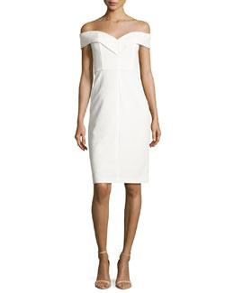 Luana Off-the-Shoulder Sheath Dress, White