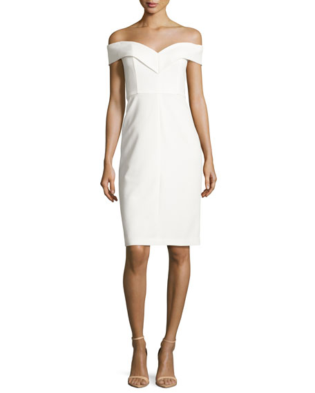 Luana Off-the-Shoulder Sheath Dress, White
