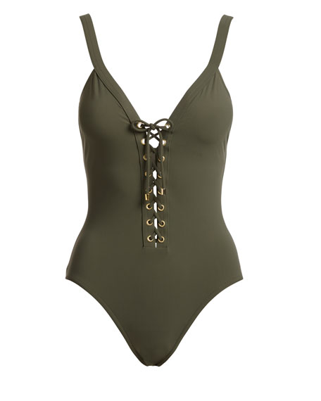 Lace-Up Underwire One-Piece Swimsuit, Green
