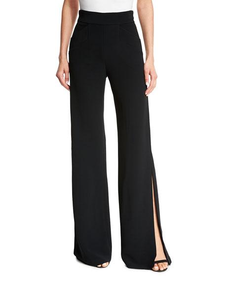 Aubree Side-Slit Wide-Leg Pants, Black