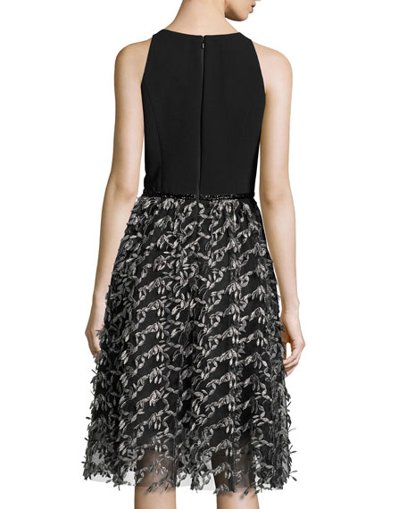 Sleeveless Crepe & Embroidered Mesh Cocktail Dress, Black/Pewter