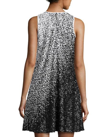 Sleeveless Ombre Sequined Swing Dress, White/Black