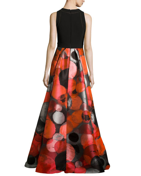Sleeveless Crepe & Taffeta Gown, Red