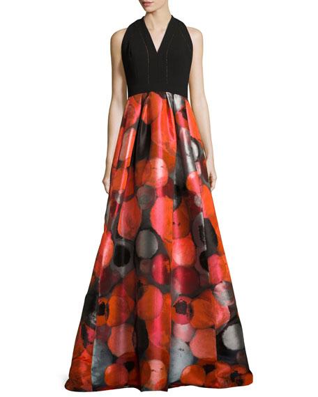 Carmen Marc Valvo Sleeveless Crepe & Taffeta Gown,