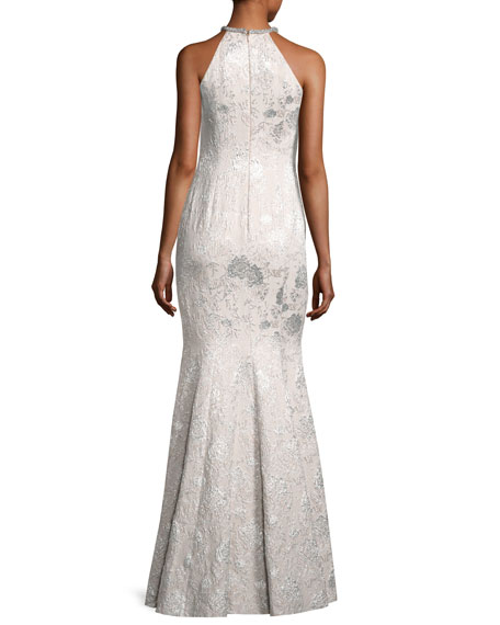 Sleeveless Metallic Brocade Gown, Silver