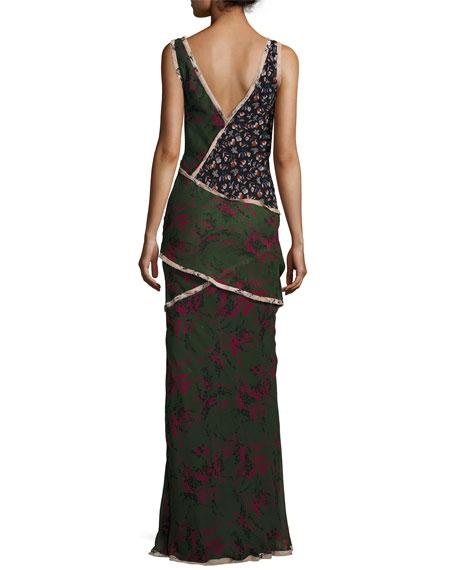 Sleeveless Mixed-Print Chiffon Gown, Multi