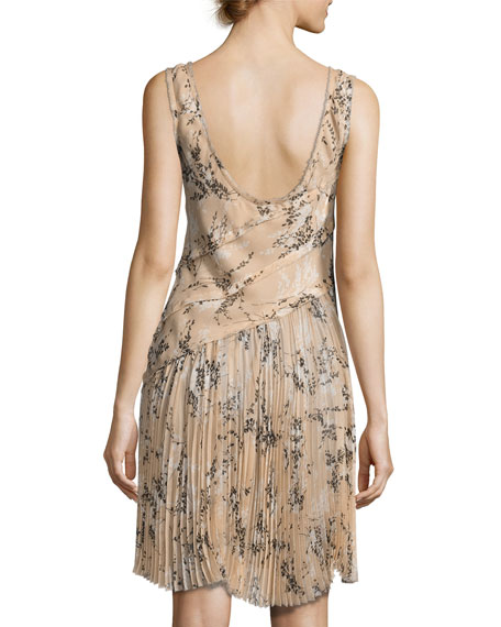 Floral-Print Chiffon Scoop-Back Dress, Blush