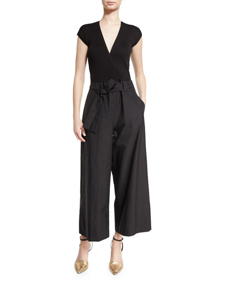 Belted Deep-V Wide-Leg Jumpsuit, Black