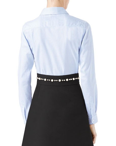 Long-Sleeve Oxford Stripe Blouse with Grosgrain Tie, Blue