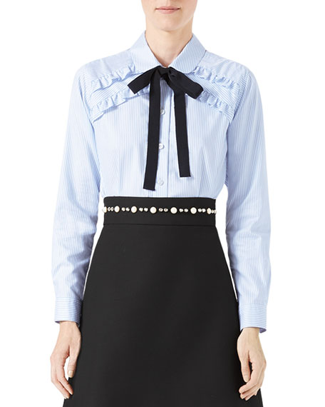 37632085b Gucci Long-Sleeve Oxford Stripe Blouse with Grosgrain Tie, Blue