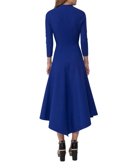 Redingote Zip-Front Long-Sleeve Dress, Blue