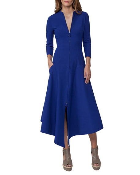 Akris Redingote Zip-Front Long-Sleeve Dress, Blue
