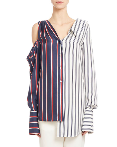 Two-Tone Striped Combo Blouse, Blue/White