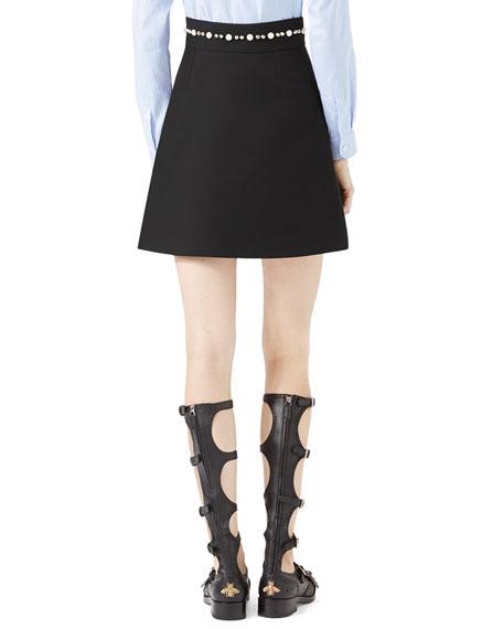 Embroidered Cady Crepe Skirt, Black