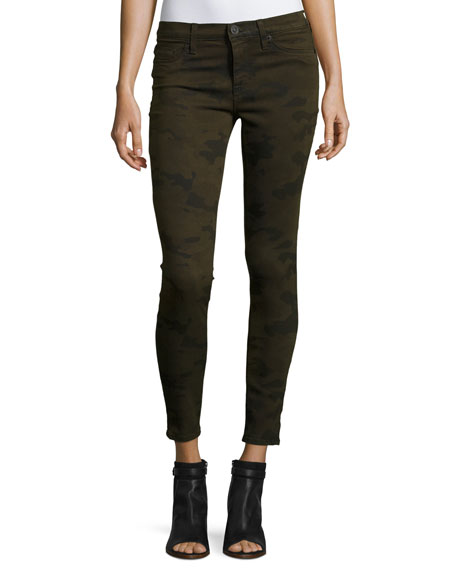 Krista Ankle Skinny Jeans, Camo Olive